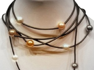 70 inches Black SUEDE RoPe NECKLACE of Gold Black White FreShWaTeR PEARLS
