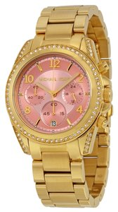 Michael Kors Gold tone Pink DialCrystal Accent Designer ladies Watch