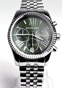 Michael Kors Silver tone Stainless Steel Green Dial Designer Casual Watch