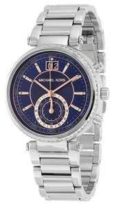 Michael Kors Silver Stainless Steel Navy Blue Dial Crystal Accent Designer Ladis Watch