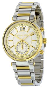 Michael Kors Two Tone Stainless Steel Crystal Accent Silver Gold Designer Watch