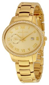 Michael Kors Gold tone Crystal Pave Bezel Oval Shaped Designer Ladies Dress Watch