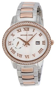 Michael Kors Silver and Rose Gold tone Crystal Accent Designer Ladies Dress Watch