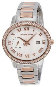 Michael Kors Oval Shaped Crystal Accent Silver and Rose Gold Designer Watch