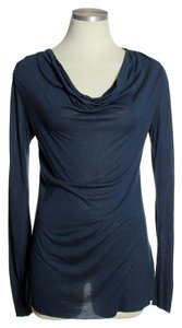 C&C California Drapeneck Shimmer Rayon Top Blue