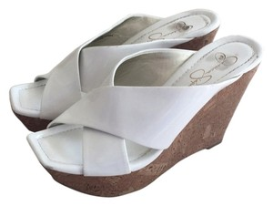 Jessica Simpson White and tan Wedges