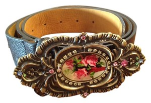 Michal Negrin Michal Negrin black leather hip belt with rose buckle and Swarovski crystal embellishment