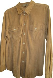 The Territory Ahead Suede Western Button Down Shirt Tan