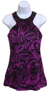Trina Turk Sleeveless Beaded Top Purple & Black