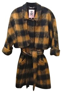 Juicy Couture Glaze Chelsea Wool Sz Large Butterscotch/black Coat