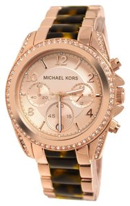 Michael Kors BRAND NEW MICHAEL KORS Blair Rose Gold Tone And Tortoise Chronograph Watch