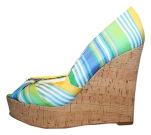 Nine West Green ,Yellow, White, Blue Wedges