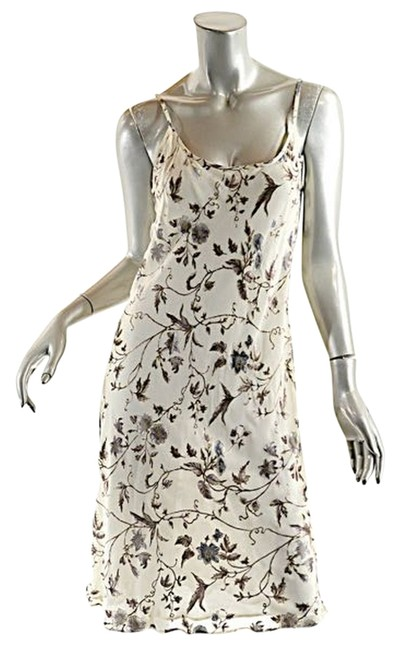 Item - Ivory & Brown Le Collezioni Ivory/Brown Floral Spaghetti/Bias Cut Mid-length Casual Maxi Dress Size 6 (S)