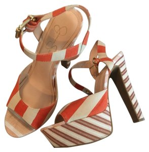 Jessica Simpson Burnt Orange and cream Pumps