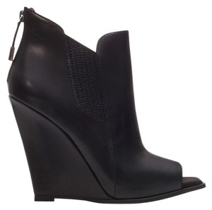 Zara Leather Peeptoe Wedge Chelsea Black Wedges