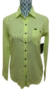 Hurley Neon Yellow Cotton Light Shirt Blouse Button Down Shirt Lemon