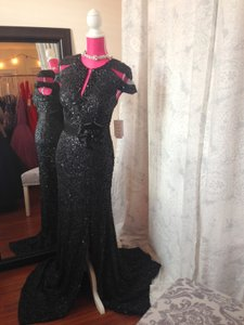 Rina DiMontella Black 1818 Sequin Cap Sleeve Dress
