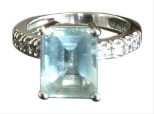 Bloomingdale's Aquamarine emerald-cut ring in white gold with diamonds