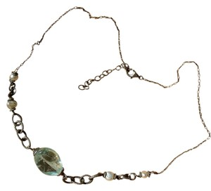 Silver and Aqua-Blue-Stone-Pearl-Beach-Vibe-necklace