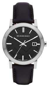 Burberry Burberry Women's The City Black Leather Silver Tone Stainless Steel Watch BU9009