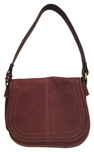Fossil Leather Front Flap Boho Satchel in Amethyst