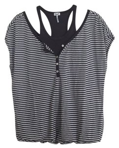 Splendid Striped Layered Casual Tank T Shirt Grey and white
