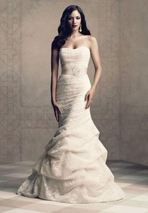 Paloma Blanca Ivory Modern Lace Gown Feminine Wedding Dress Size 12 (L)