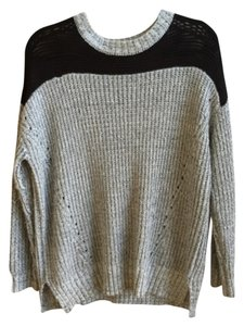 Sparkle & Fade And Two Tone Mesh Black Grey Knit Sweater