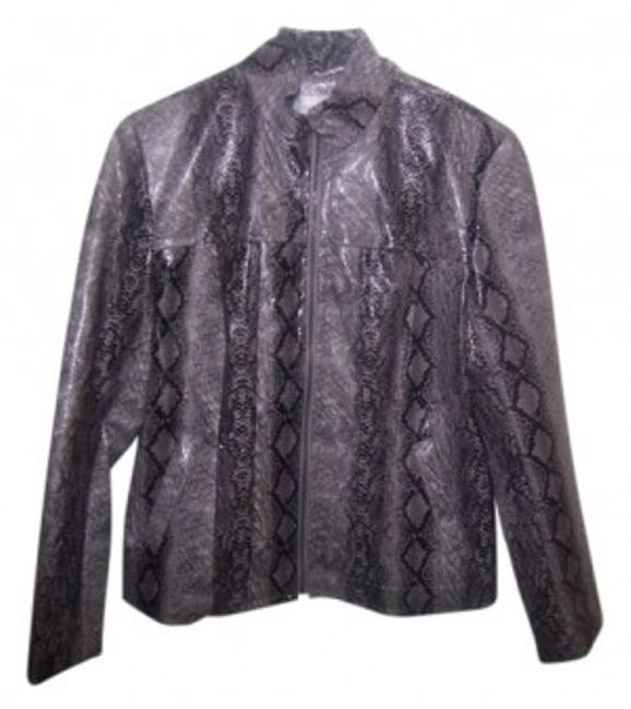 Preload https://img-static.tradesy.com/item/12293/erin-london-black-and-gray-snakeskin-rayon-polyester-rn-78902-leather-jacket-size-10-m-0-0-650-650.jpg