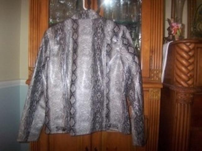 Erin London black and gray snakeskin Leather Jacket