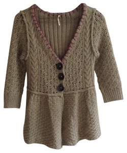 Free People Anthropologie Knitted Buttoned Cardigan Woven Sweater