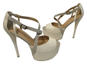 ShoeDazzle Ultra High Open Toe Cream Platforms