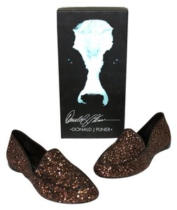 Donald J Pliner Brand New With Box Women's Sparkle Oxford Denny Loafer Sz 7m Bronze Flats