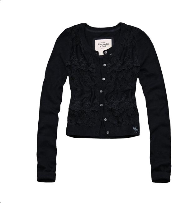 Abercrombie & Fitch Sheer Floral Lace Sweater Cardigan