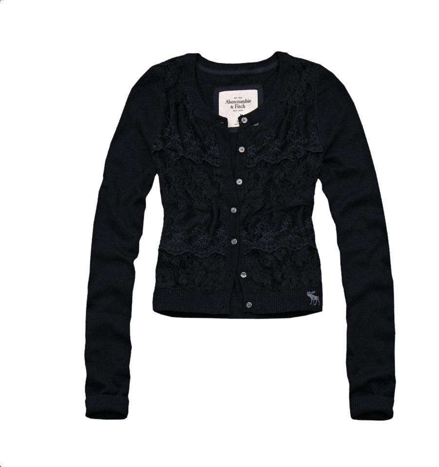 Abercrombie & Fitch Navy Blue A&f Floral Lace Sweater Medium ...