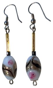 Other One-Of-A-Kind Artisan Handpainted Glass, Beaded Earrings