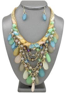 Multicolor Draped Pastel Teardrop Glass Beaded Necklace and Earrings