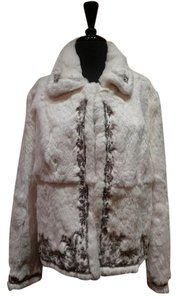 Adrienne Landau Rex Rabbit Fur Crystal Beaded White Jacket