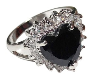 Other New 14K White Gold Filled Black Cubic Zirconia Heart Ring Size 7 Silver J2046
