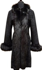 Adrienne Landau Jet Wool Fur Embroidered Coat