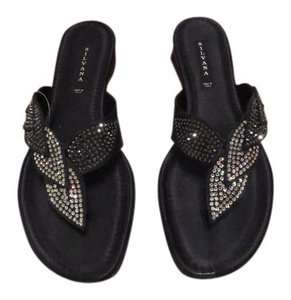 Silvana Elegant Crystal Studded Made In Italy Black Sandals