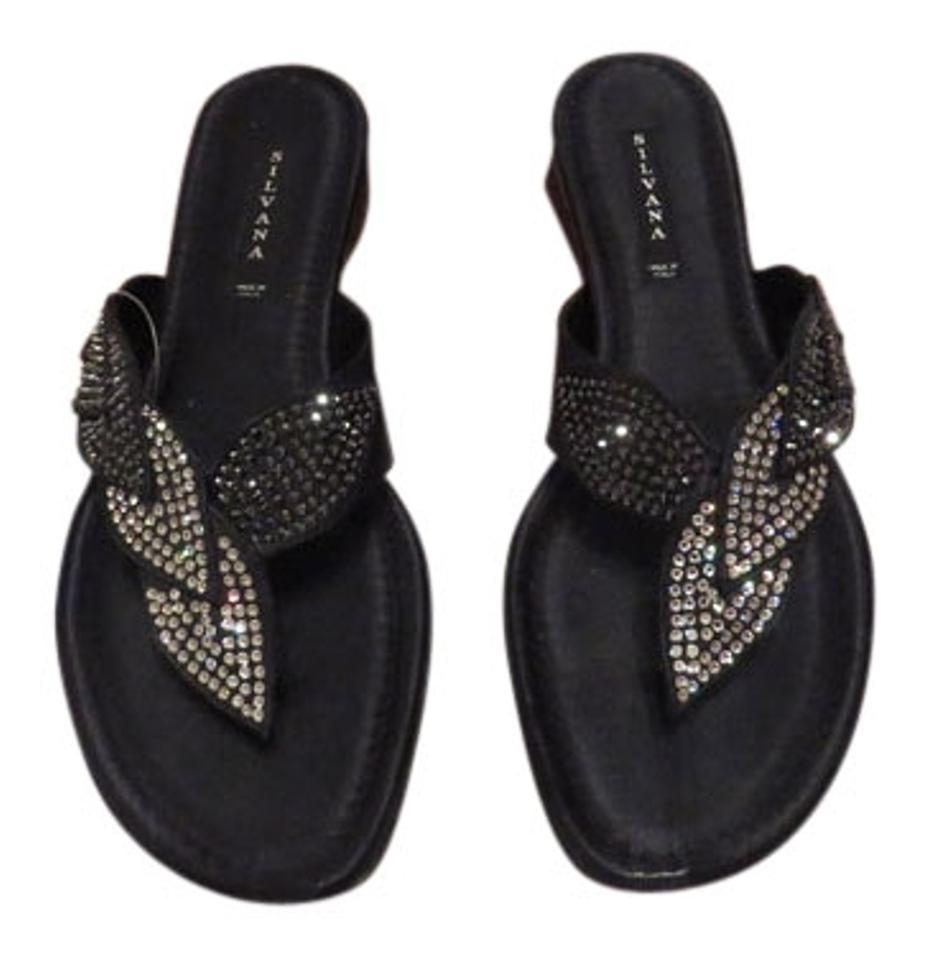 f17d28763fd Silvana Elegant Crystal Studded Made In Italy Black Sandals Image 0 ...