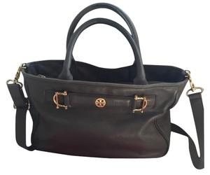 Tory Burch Leather Tote Removable Strap Satchel in Grey/gold