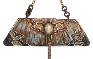Mary Frances Satchel in Muted Mocha, Pale Blue and Gold