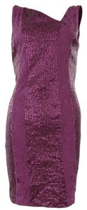 Jessica Simpson Sequin Lace Asymmetric V-neck Dress