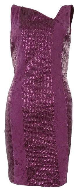 Jessica Simpson Sequin Lace Asymmetric V-neck Holiday Dress