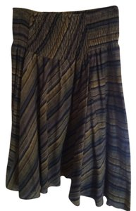 Modcloth Mod Retro Striped Work Midi Stretchy High-waist Skirt Navy, blue, green
