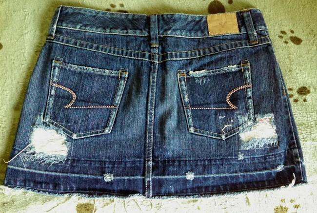 American Eagle Outfitters Bling Denim Distressed Rhinestone Mini Skirt Dark Wash