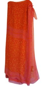 Boston Proper Maxi Skirt Coral and pink