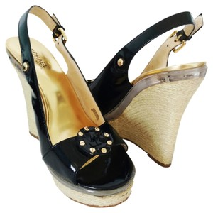 Michael Kors Espadrille Wedge Golden Black Wedges